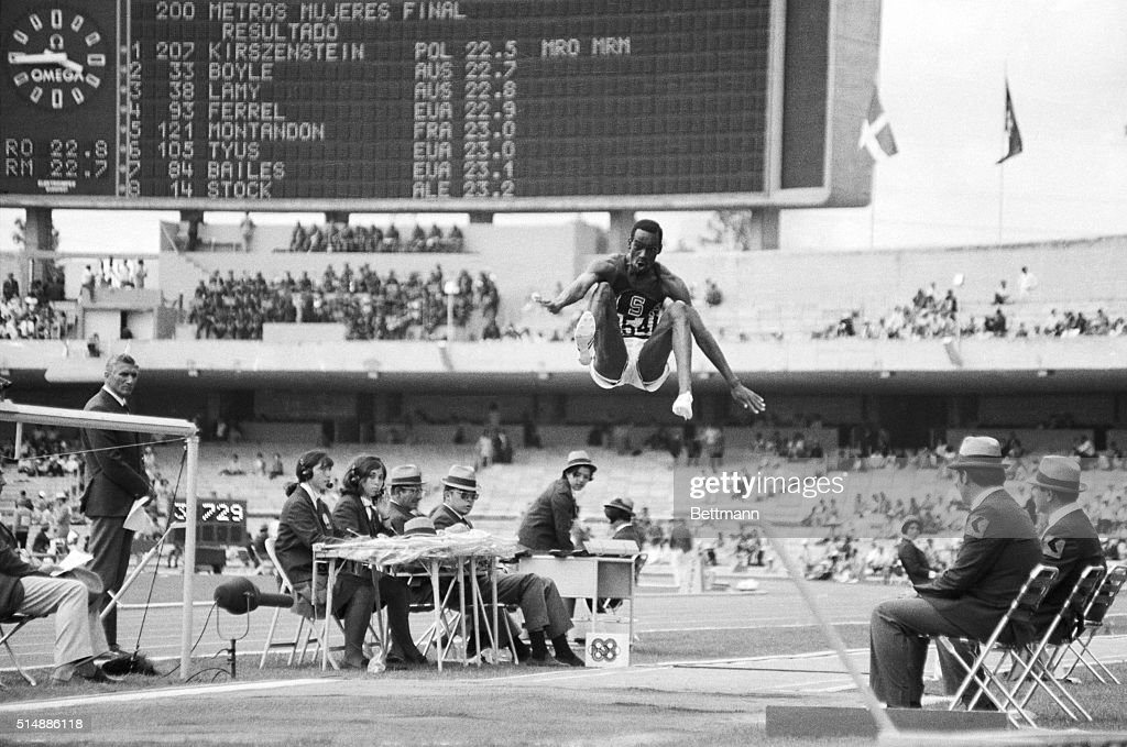 American long jumper Bob Beamon breaks the world record at the 1968 Olympics.