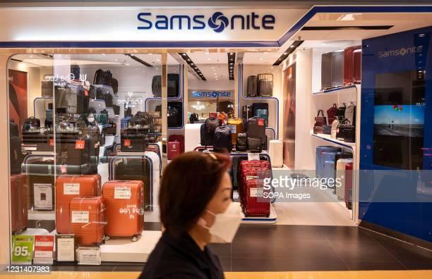American luggage manufacturer and retailer, Samsonite store seen in Hong Kong.
