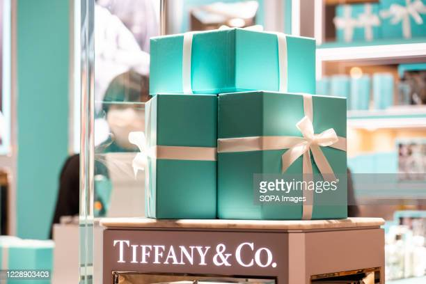 American luxury jewellery and speciality retailer Tiffany & Co. Logo and gift boxes seen at their store in Shenzhen.
