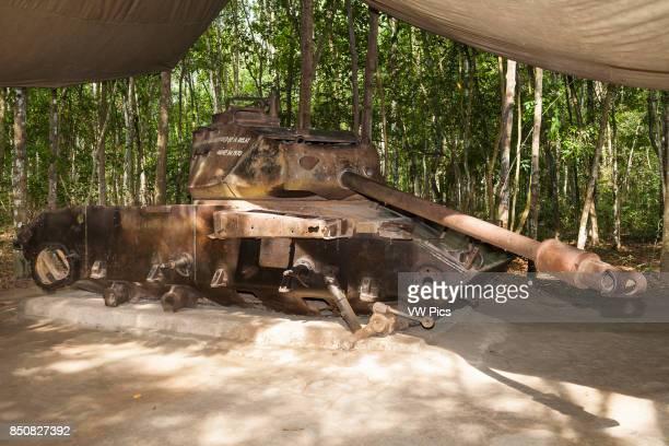 American M41 tank destroyed during the Vietnam War Ben Dinh Cu Chi near Ho Chi Minh City Vietnam
