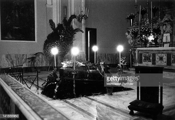 American Mafia boss Lucky Luciano's coffin inside the church where the funeral service is being hold Naples 26 January 1962