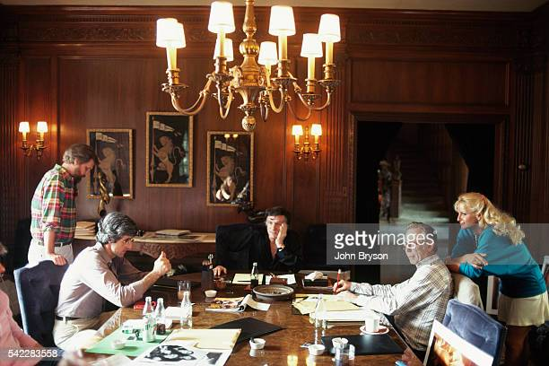 American magazine publisher founder and chief creative officer of Playboy Enterprises Hugh Hefner during an editorial conference with director of...