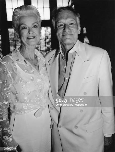 American magazine publisher Hugh Hefner with colleague and former model Janet Pilgrim at the Playboy Mansion in Los Angeles 1999 Pilgrim was chosen...