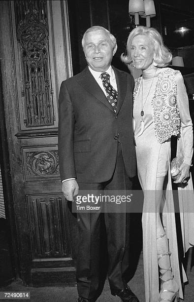 American magazine publisher Samuel I Newhouse Jr and his wife Jane pose together at an unidentified event 1970s
