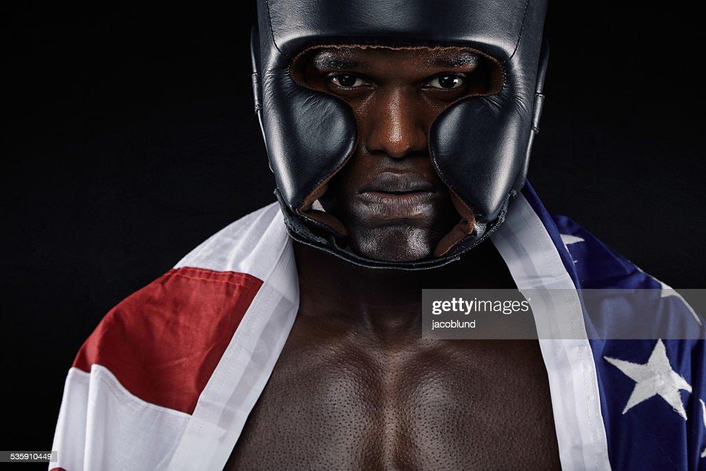 American männliche boxer mit USA-Flagge : Stock-Foto