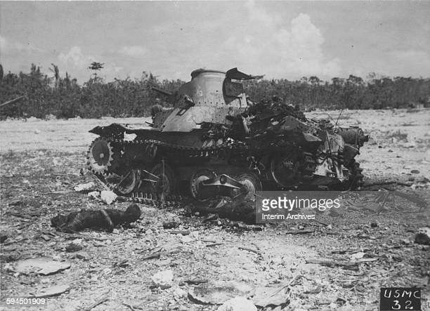 American Marines accounted for this Japanese tank and its crew during fighting on Peleliu Palau Islands 1944 Bodies of Japanese soldiers who were...