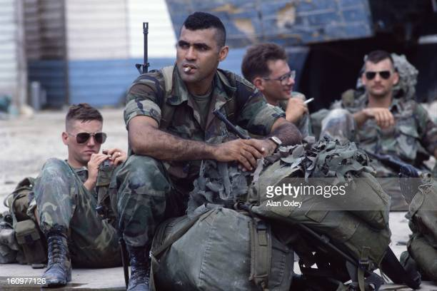 American Marines await deployment at Salines Airport near St Georges during the US invasion of Grenada in Oct 1983
