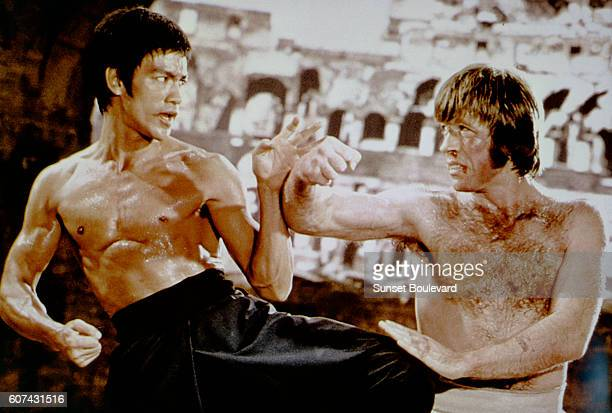 American martial artist Chuck Norris with Chinese American martial artist, actor, director and screenwriter Bruce Lee on the set of his movie Meng...