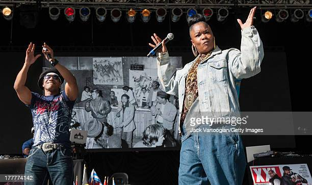 American MC Roxanne Shante performs with Kangol at the '40th Anniversary of Hip-Hop Culture' concert at Central Park SummerStage, New York, New York,...