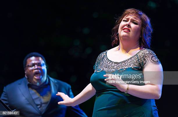 American mezzosoprano Jamie Barton and tenor Russell Thomas perform at the sixth annual seasonopening concert in the Metropolitan Opera Summer...