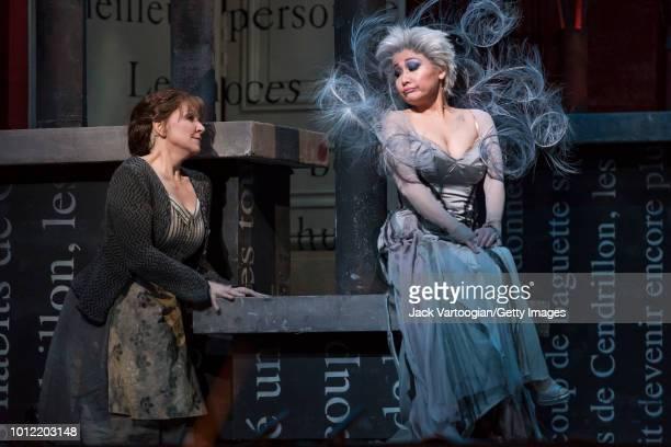 American mezzosoprano Joyce DiDonato and South Korean soprano Kathleen Kim perform at the final dress rehearsal prior to the Metropolitan Opera...