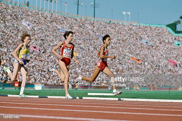 American middle distance runners Ruth Wysocki and Kim Gallagher in action during the Women's 800 metres at the 1984 Olympics in Los Angeles August...