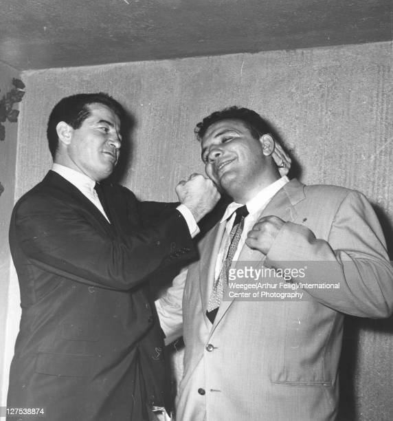 American middleweight boxers Rocky Graziano and Jake LaMotta clown around mid 20th century Photo by Weegee/International Center of Photography/Getty...