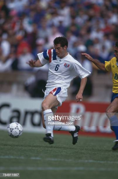 American midfielder John Harkes pictured making a run with the ball during the 1993 US Cup soccer tournament game between United States and Brazil at...