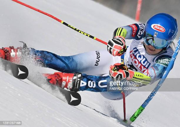 American Mikaela Shiffrin competes in the Women's Giant Slalom event on February 18, 2021 at the FIS Alpine World Ski Championships in Cortina...