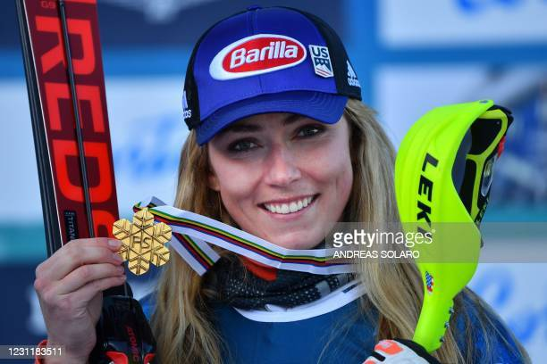 American Mikaela Shiffrin poses with her Gold medal after winning the Wowen's Alpine combined event on February 15, 2021 at the FIS Alpine World Ski...