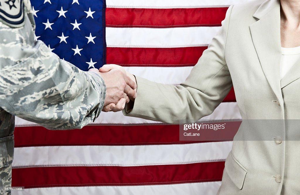 American Military and Civilian Handshake : Stock Photo