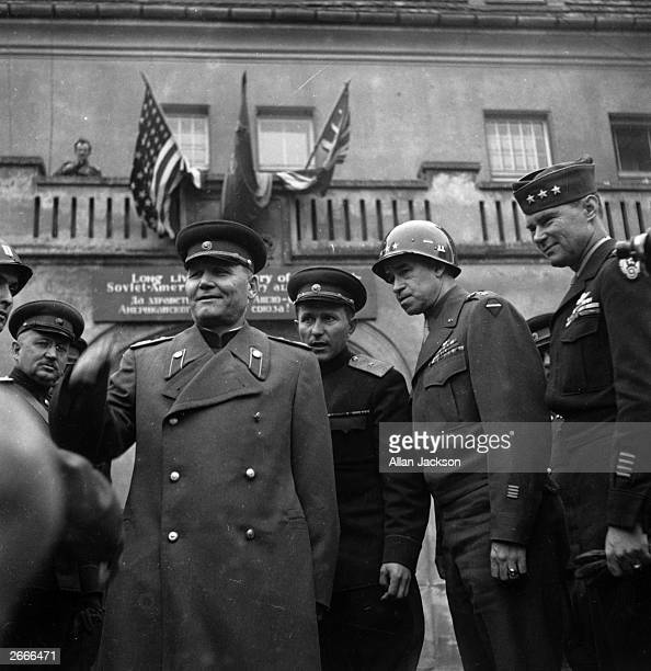 American military commander General Bradley with his Soviet counterpart Marshal Koniev at the Russian's headquarters