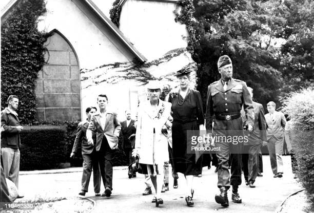 American military commander General George S Patton walks with his wife Beatrice Patton and sister Nita Patton as they leave a church service San...