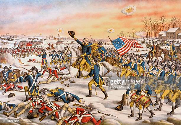 American military commander General George Washington leads the Continental Army in the Battle of Princeton during the American Revolutionary War,...