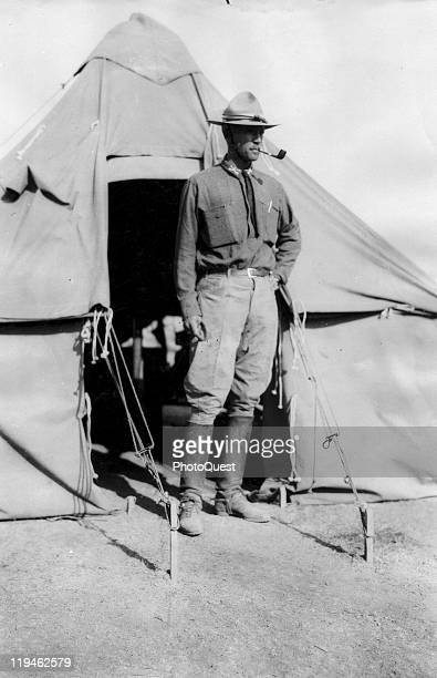 American military commander Lieutenant George S Patton of the 8th Cavalry poses outside a tent San Antonio Mexico May 11 1916