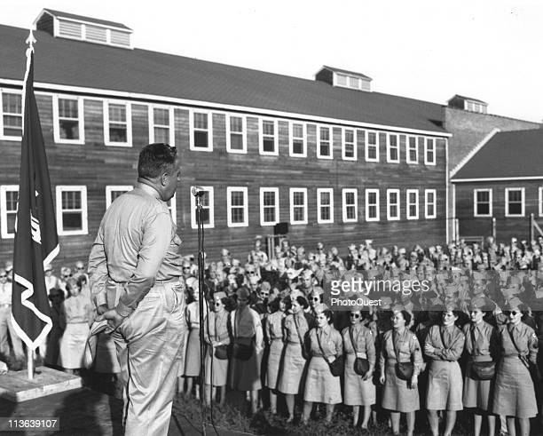 American military commander Major General Leslie Richard Groves Jr director of the Manhattan Project speaks to service personnel at the atomic...