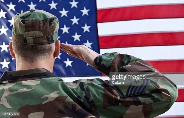 American Military Salute Against US Flag
