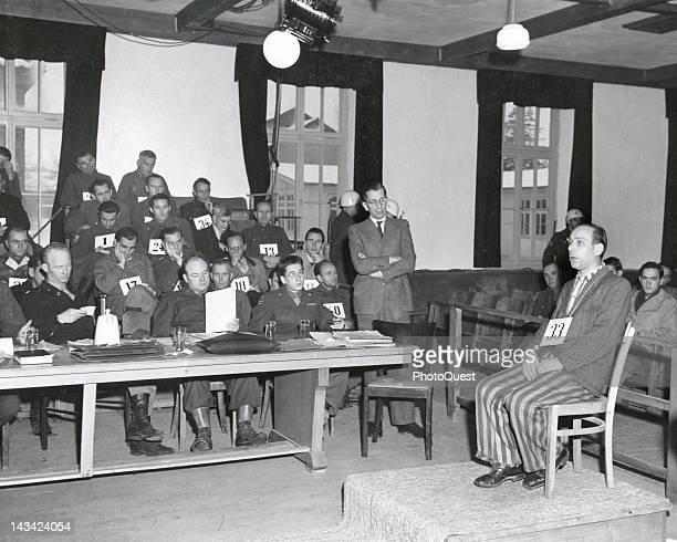 American Military Tribunal trial 'US vs Martin Gottfried Weiss et al' defendant and Dachau trustee Emil Mahl testifies Dachau Germany December 5 1945...