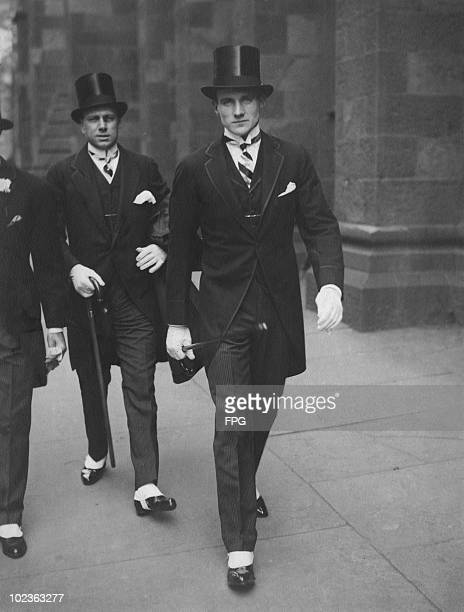 American millionaire Anthony Joseph Drexel Biddle Jr circa 1925 On the left is Francis Roche