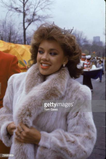 American model and actor Vanessa Williams the first African American Miss America smiles while appearing in the Macy's Thanksgiving Day Parade...