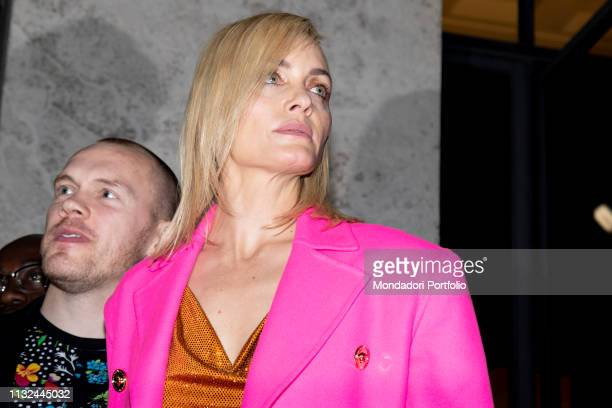 American model and actress Amber Valletta arrives at the Versace show of Milan Fashion Week Woman F/W 19 Milan February 22nd 2019