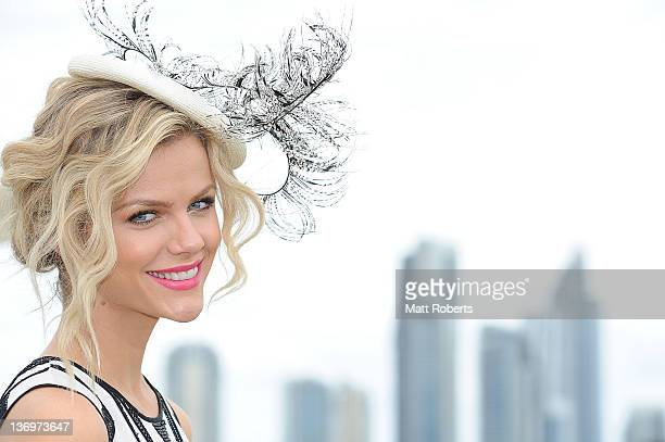 American model and actress Brooklyn Decker poses at the VIP marquee on Magic Millions Raceday at the Gold Coast Turf Club on January 14 2012 in Gold...