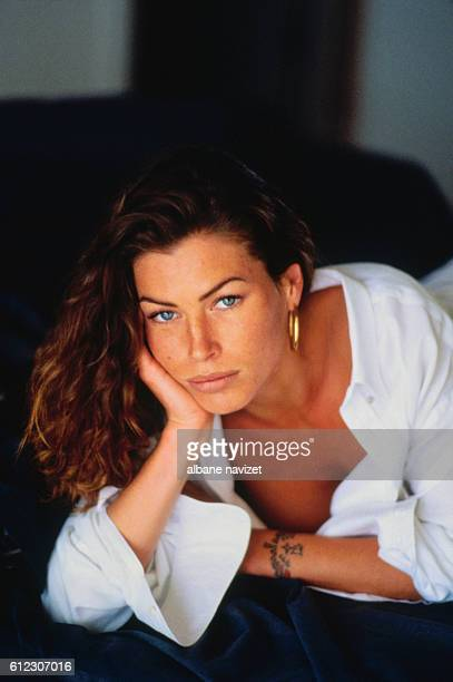 American model and actress Carre Otis in her Los Angeles home