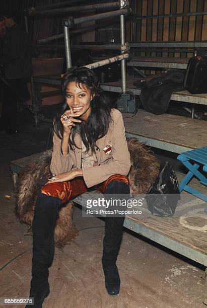 American model and actress Donyale Luna pictured smoking a cigarette during rehearsals for the Rolling Stones Rock and Roll Circus at Internel...