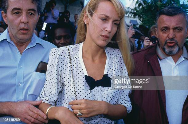 American model and actress Jerry Hall is arrested in Barbados on charges of marijuana smuggling February 1987
