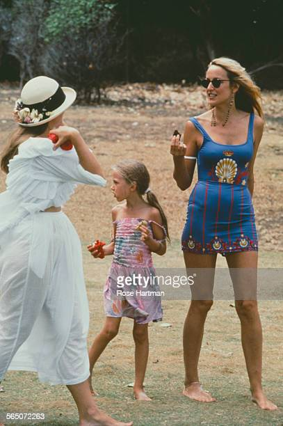American model and actress Jerry Hall with her daughter Elizabeth Jagger Mustique circa 1991