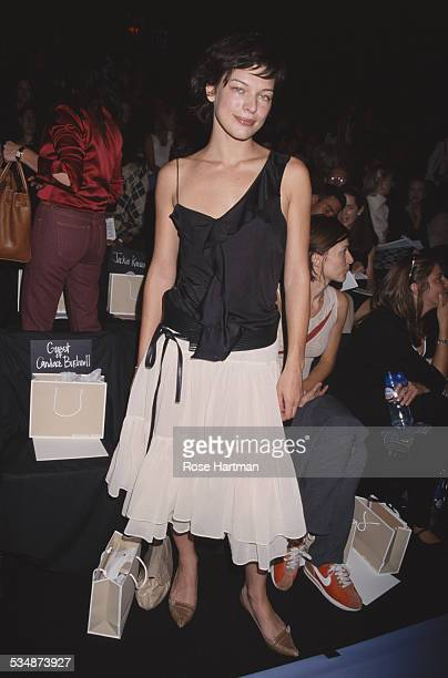 American model and actress Milla Jovovich at the Michael Kors Spring 2001 fashion show New York City USA 2000