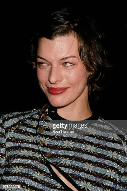 American model and actress Milla Jovovich at the Vivienne Westwood Spring 2000 fashion show New York City USA 1999
