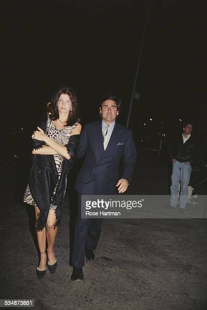 American model and actress Stephanie Seymour and her husband American industrialist and businessman Peter M Brant attending a party for Dennis Hopper...