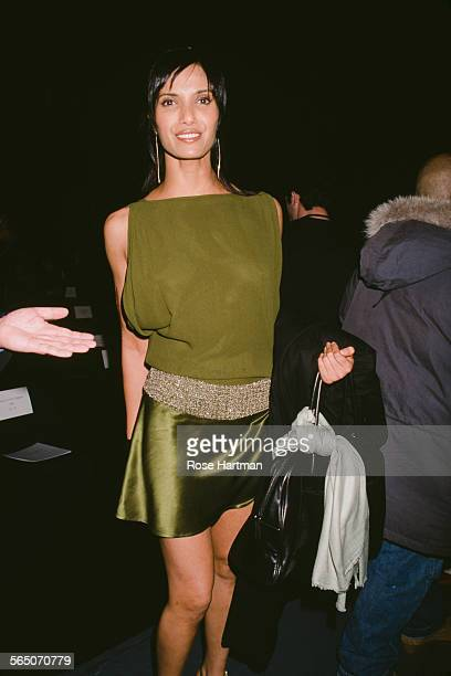 American model author actress and TV host Padma Lakshmi at a fashion show circa 1992