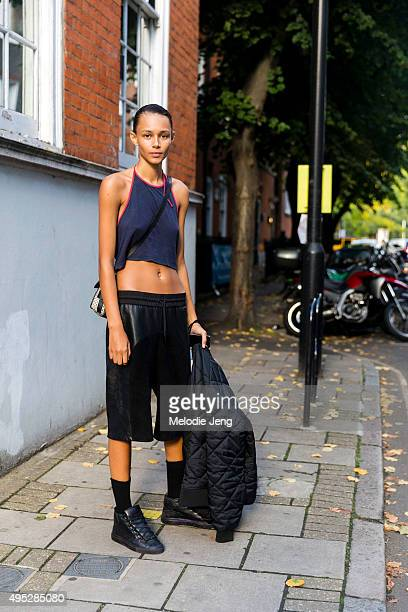 American model Binx Walton exits the JW Anderson show at Yeomanry house during London Fashion Week Spring/Summer 2016/17 on September 19 2015 in...