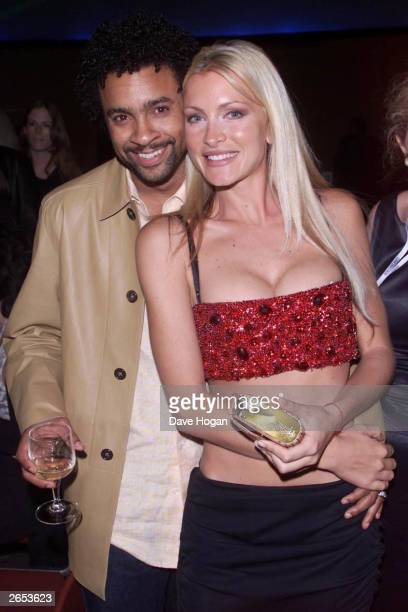 American model Caprice and American musician Shaggy enjoy themselves at the World Music Awards on March 26 2001 in Monte Carlo Monaco