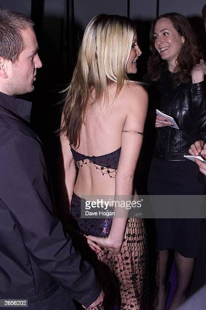American model Caprice arrives at the 2001 Brit Awards held at Earls Court Exhibition Centre on February 26 2001 in London