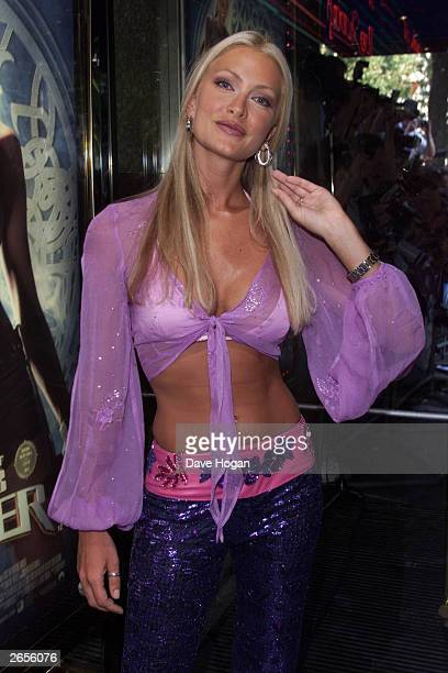 American model Caprice arrives at the premiere party for the film 'Tomb Raider' at the Sugar Reef Club on May 27 2001 in London