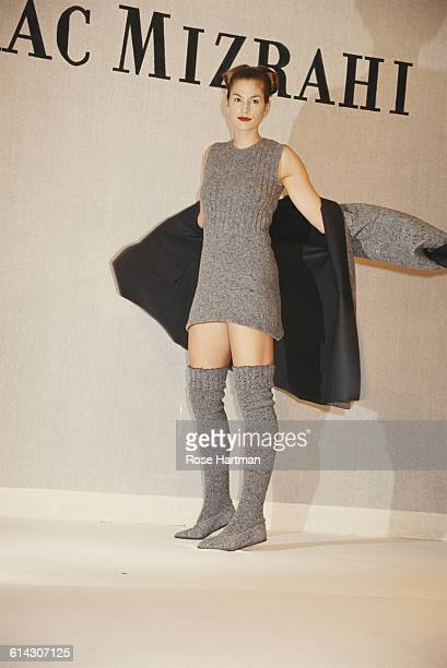 American model Cindy Crawford at the Isaac Mizrahi Fall 1994 collection fashion show at Bryant Park in New York City 12th April 1994