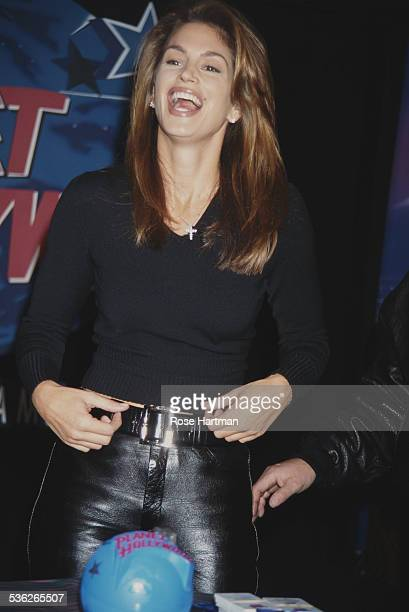 American model Cindy Crawford at the Planet Hollywood restaurant New York City USA 1995