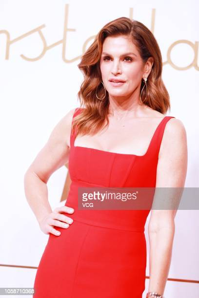 American model Cindy Crawford poses during an Omega new product launch event on October 23 2018 in Shanghai China