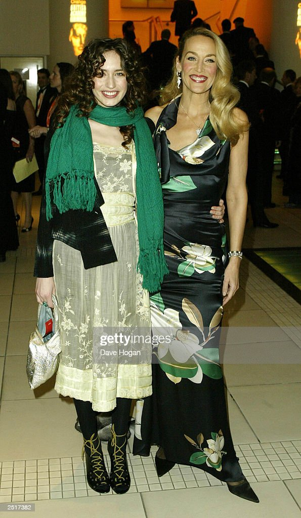 American model Jerry Hall and British model Elizabeth Jagger arrive at the after-party for the 2003 Orange British Academy Film Awards 'The BAFTAS' Held At The Grosvenor House Hotel on February 23, 2003 in London.
