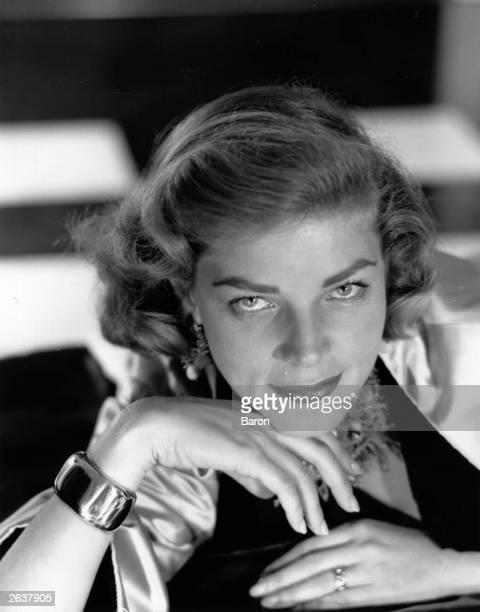 American model theatre and film actress Lauren Bacall