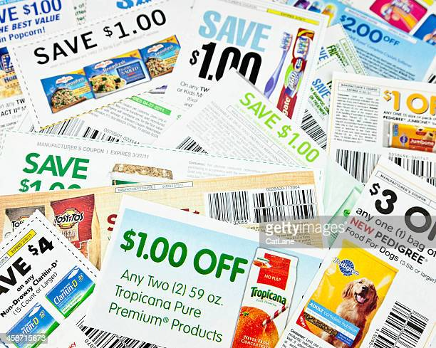 american money-saving coupons - coupon stock photos and pictures